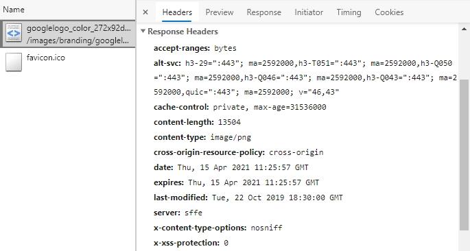 浏览器请求 Google 首页 logo 的 DevTools 截图。